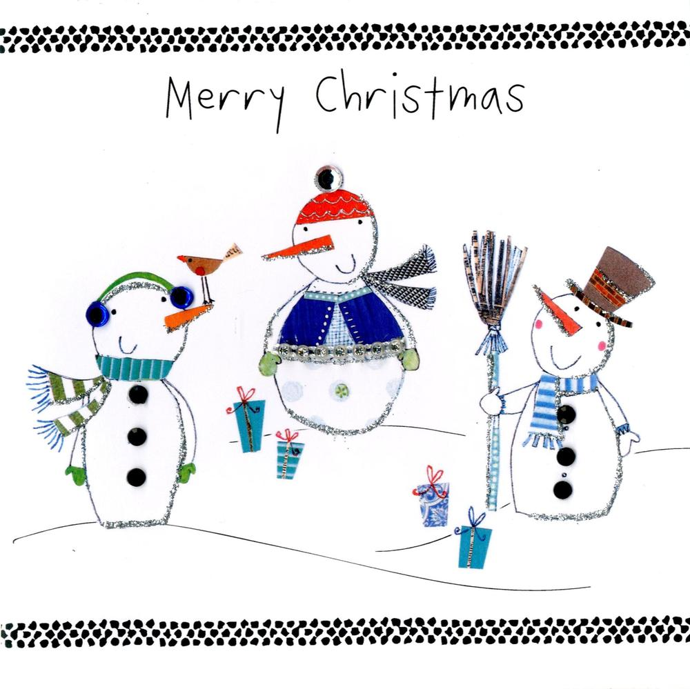 Individual Embellished Christmas Card With Snowmen