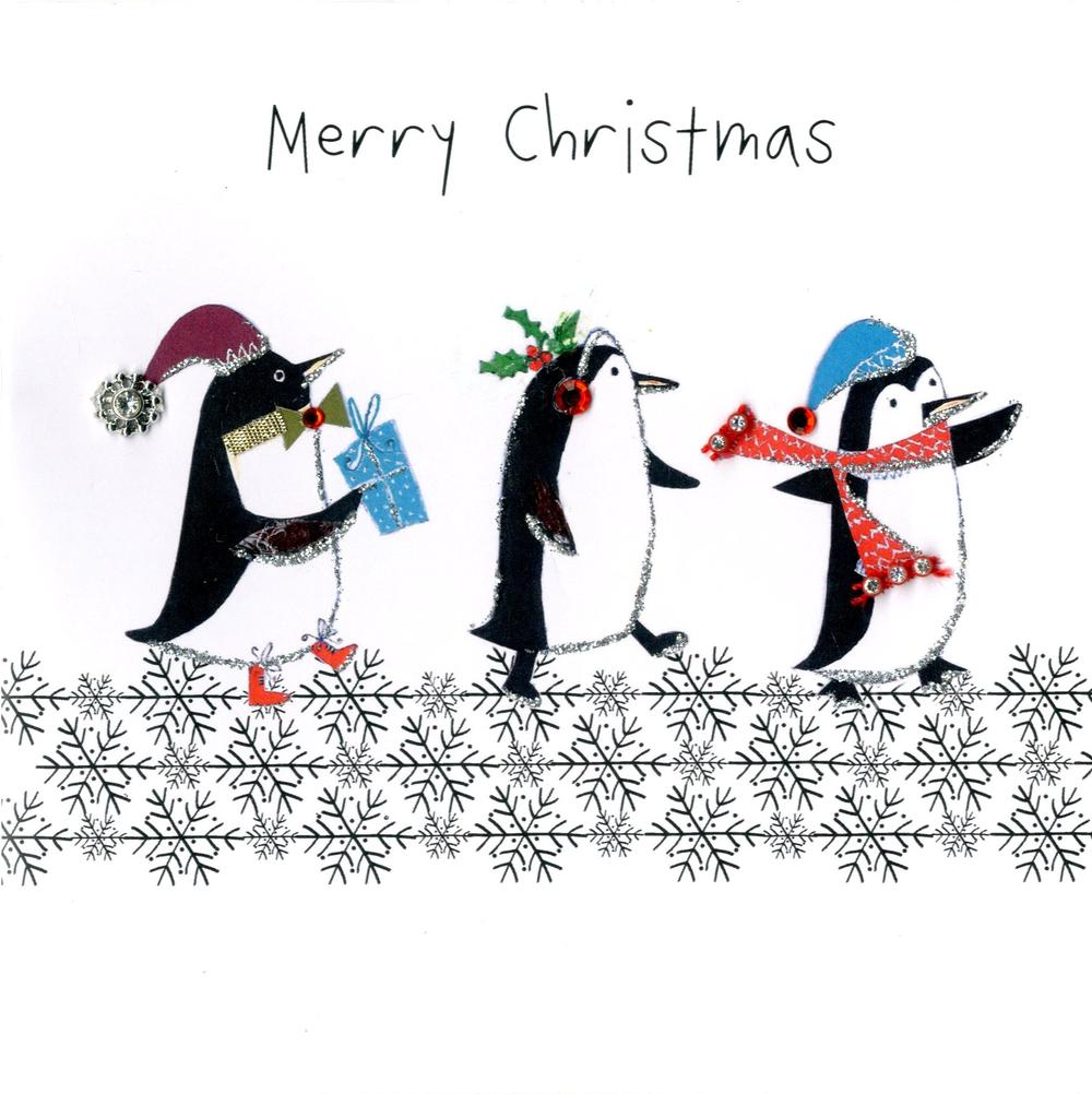 Individual Embellished Christmas Card With Penguins
