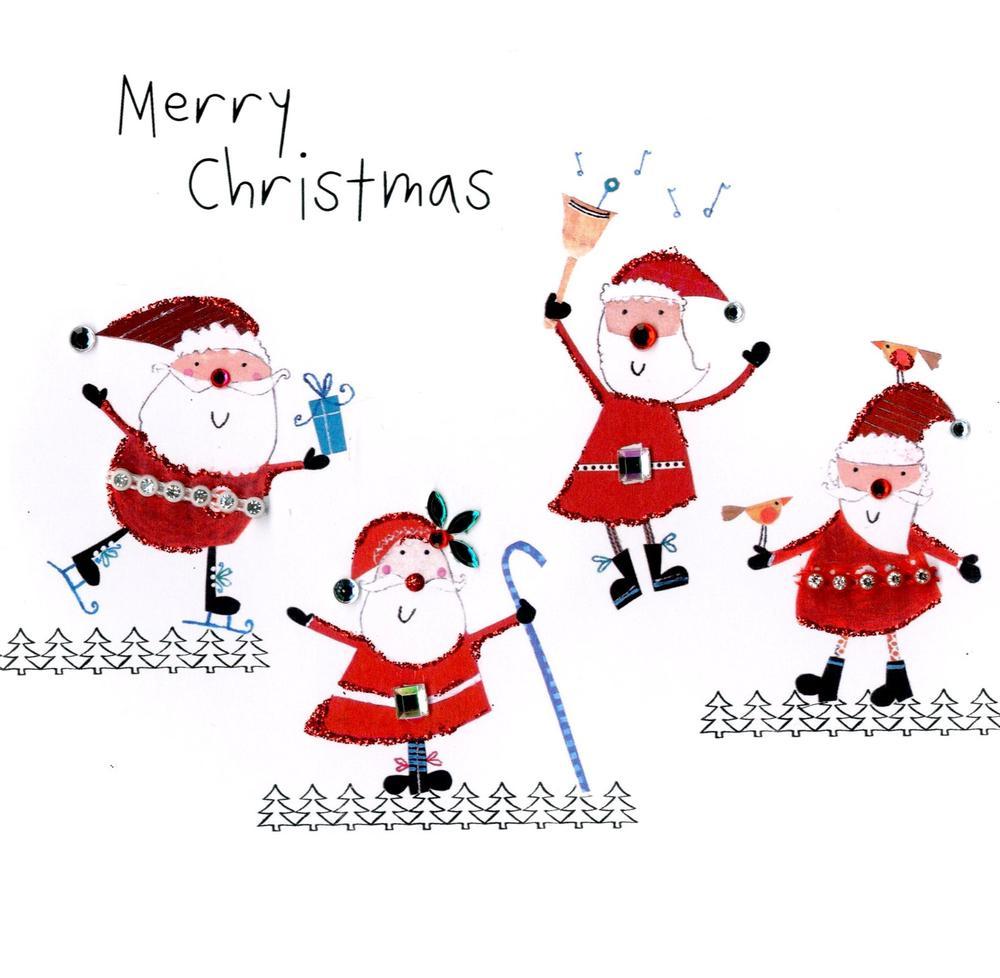 Individual Embellished Christmas Card With Santas