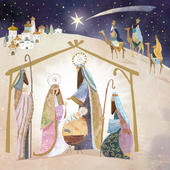 Pack of 5 Christmas Nativity Traditional Christmas Cards