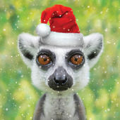 3D Holographic Lemur Christmas Greeting Card