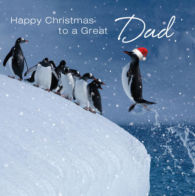 3D Holographic Dad Christmas Greeting Card