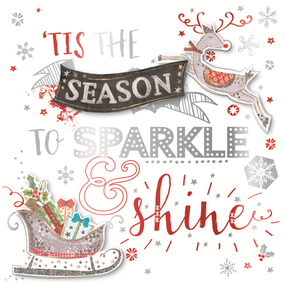 Tis The Season Embellished Christmas Greeting Card