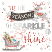 Tis The Season Embellished Christmas Greeting Card
