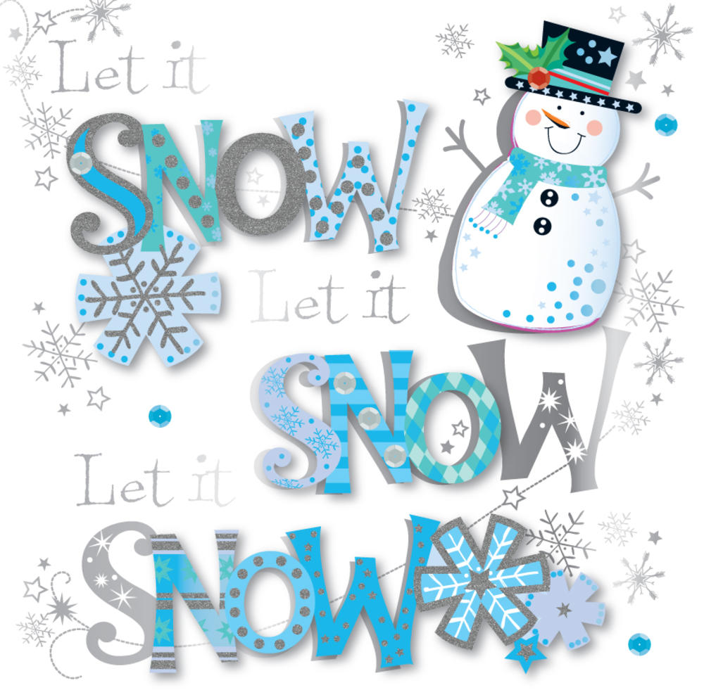 Let It Snow Embellished Christmas Greeting Card