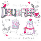 Lovely Daughter Embellished Christmas Greeting Card