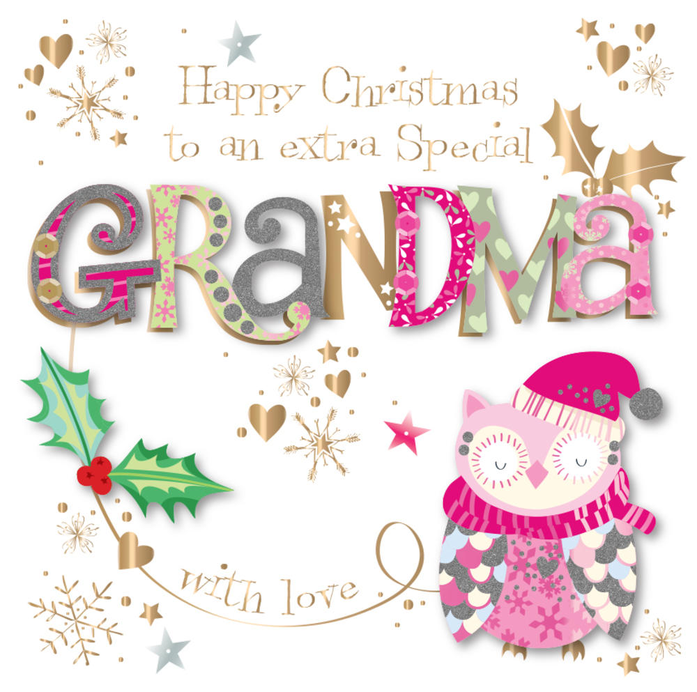 Special Grandma Embellished Christmas Greeting Card