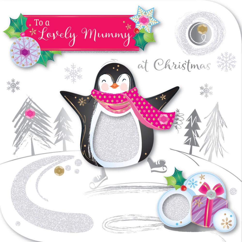 Lovely Mummy Embellished Christmas Greeting Card