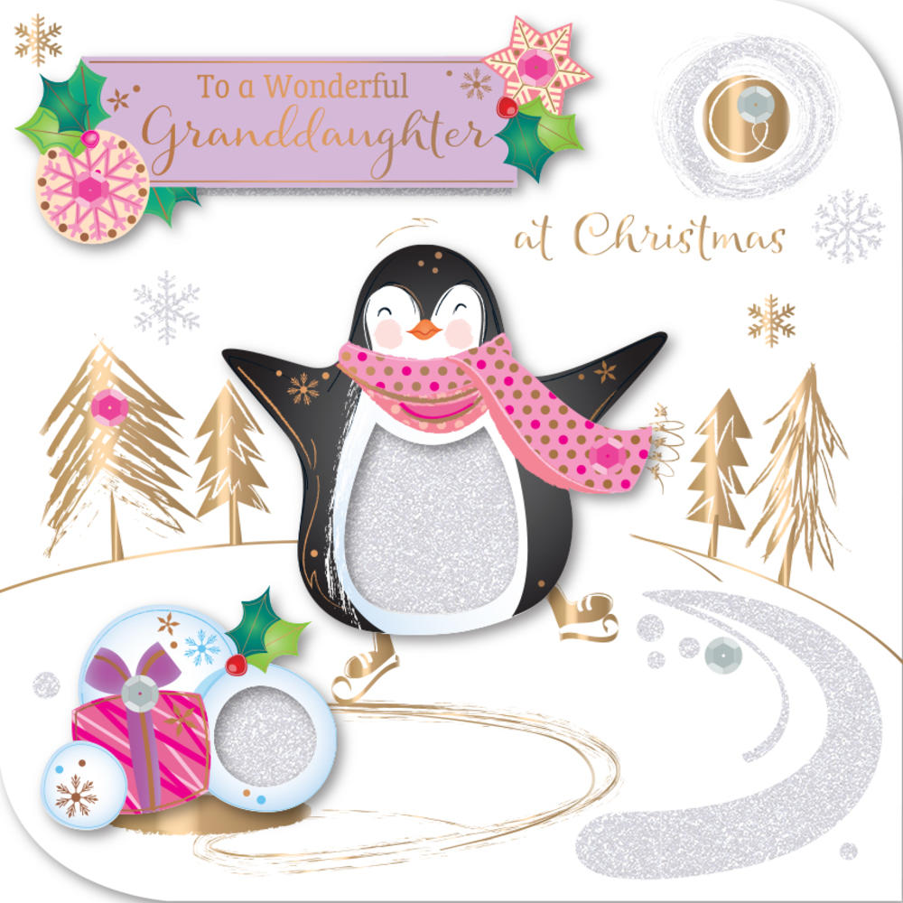 Granddaughter Embellished Christmas Greeting Card