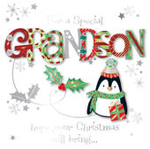 Special Grandson Embellished Christmas Greeting Card