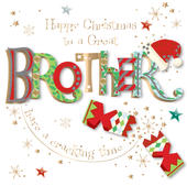 Great Brother Embellished Christmas Greeting Card