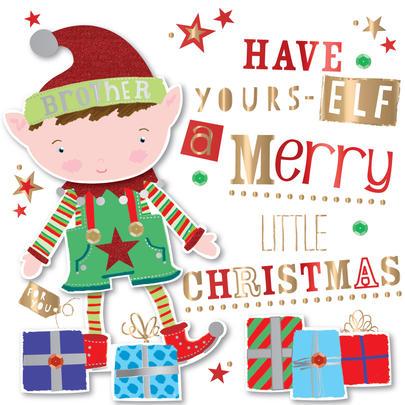 Brother Embellished Elf Christmas Greeting Card