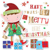 Brother Embellished Elf Christmas Greeting Card