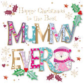 Best Mummy Embellished Christmas Greeting Card