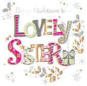 Lovely Sister Embellished Christmas Greeting Card