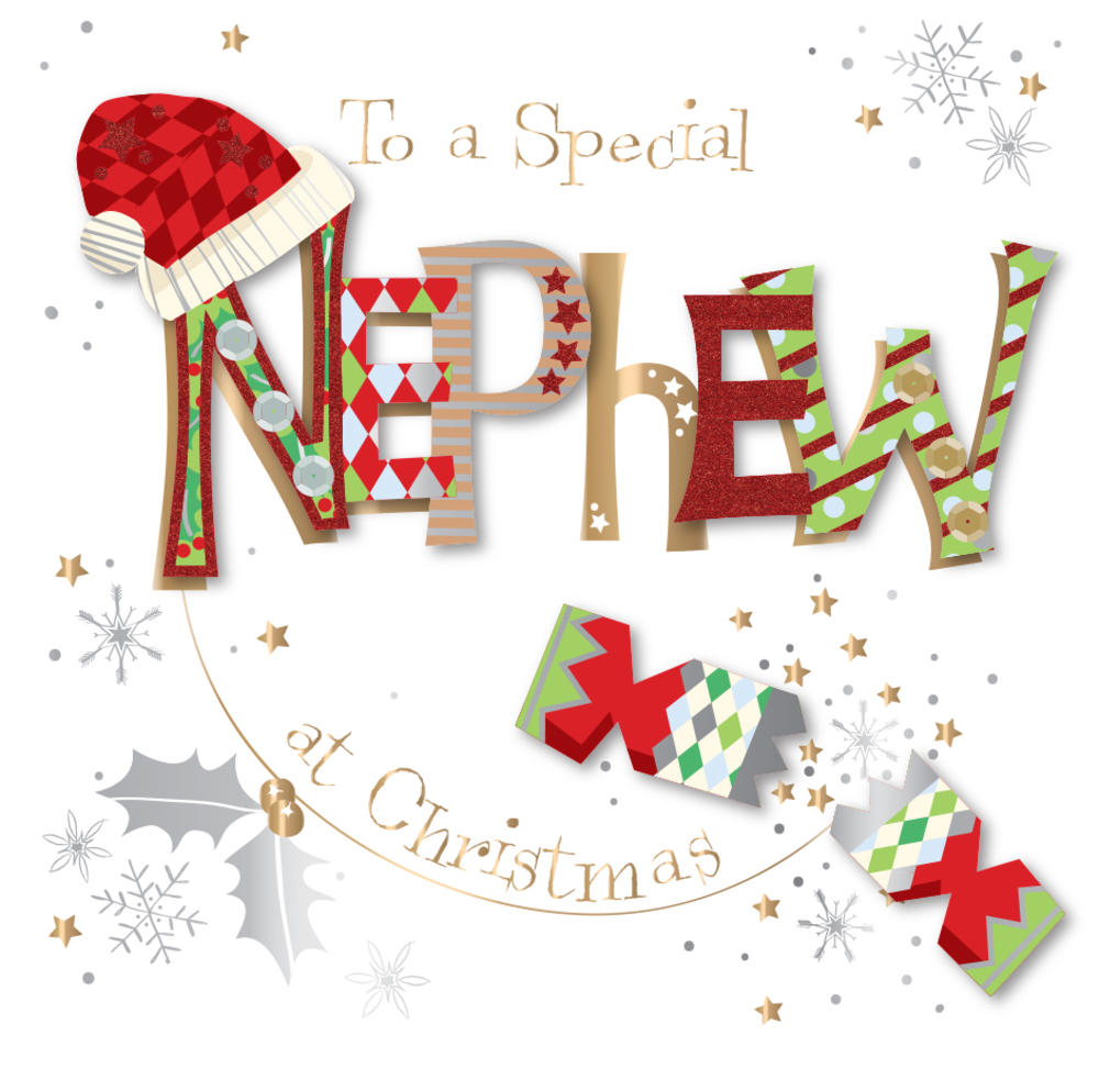 Special Nephew Embellished Christmas Greeting Card