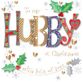 To My Hubby Embellished Christmas Greeting Card