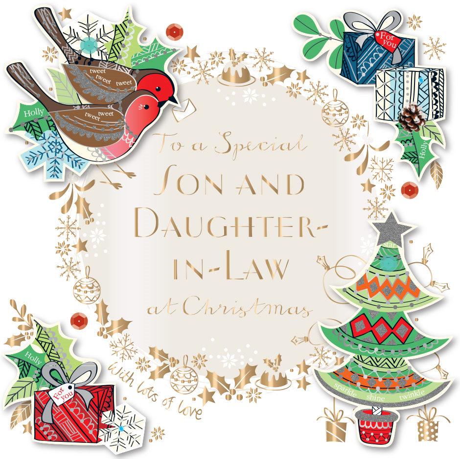 Christmas Bday Cards.Son Daughter In Law Embellished Christmas Greeting Card