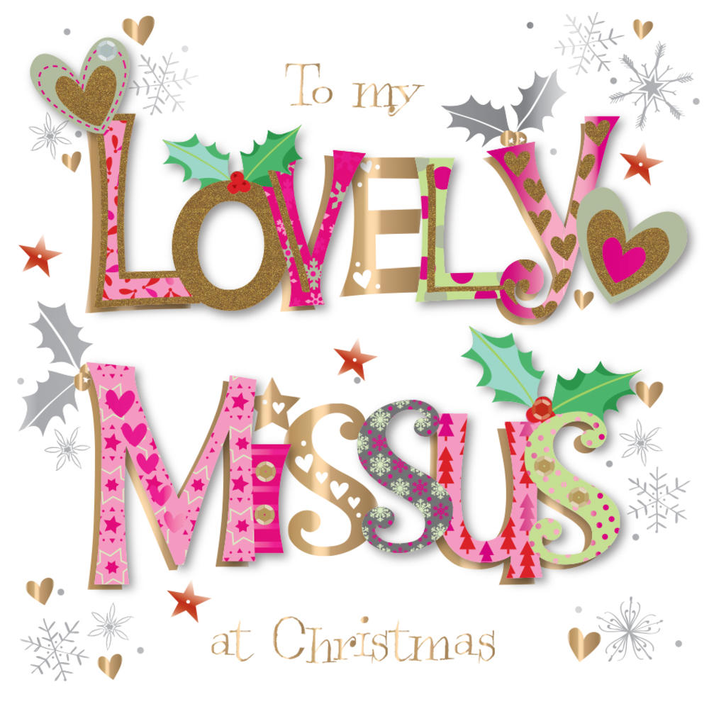 Lovely Missus Embellished Christmas Greeting Card