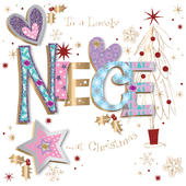 Lovely Niece Embellished Christmas Greeting Card