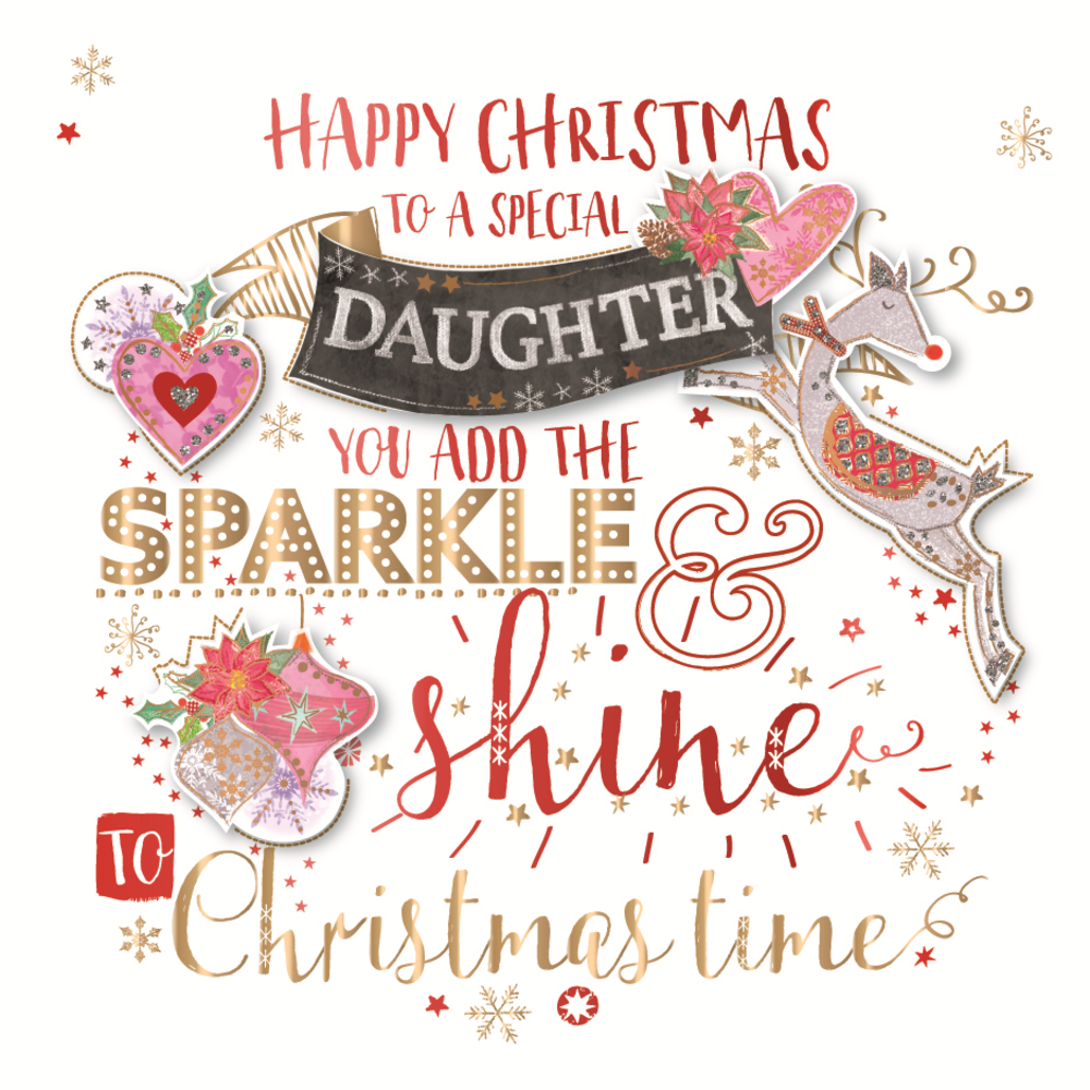 Special Daughter Embellished Christmas Greeting Card