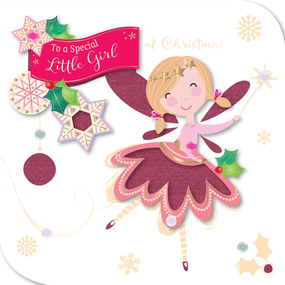 Special Little Girl Embellished Christmas Greeting Card
