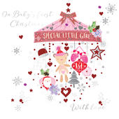 Baby Girl's First Christmas Embellished Greeting Card