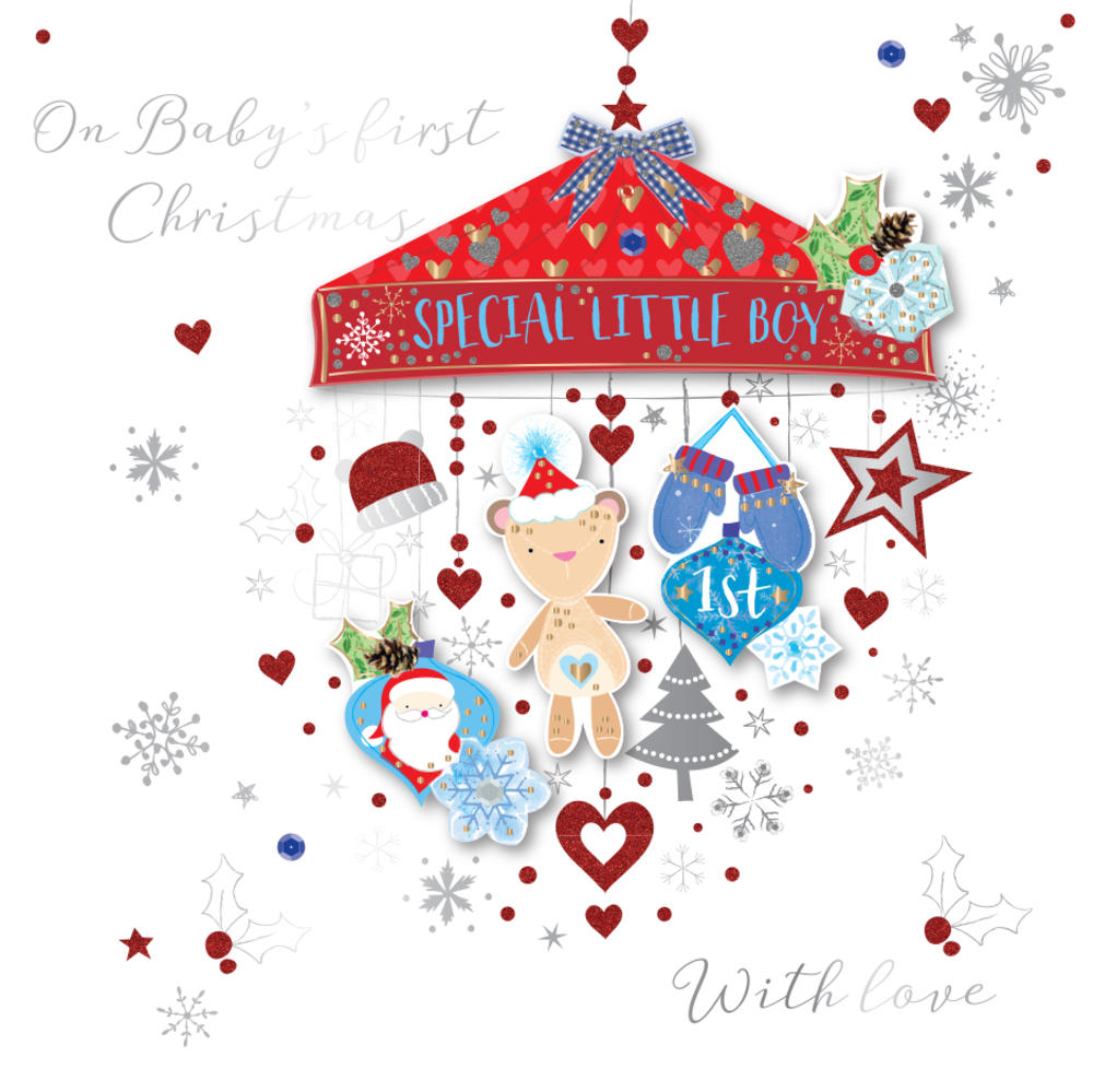Baby Boy's First Christmas Embellished Greeting Card