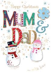 Mum & Dad Embellished Christmas Greeting Card