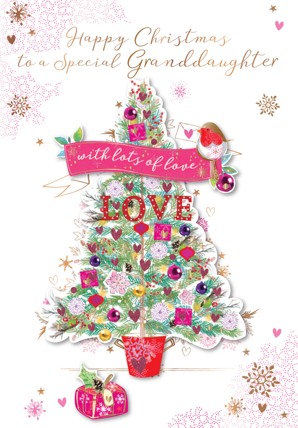 Special Granddaughter Embellished Christmas Greeting Card
