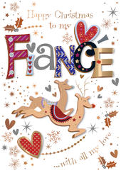 Fiance Embellished Christmas Greeting Card
