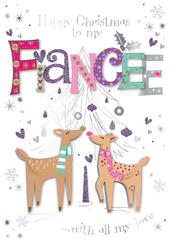 Fiancee Embellished Christmas Greeting Card