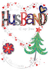 Husband Embellished Christmas Greeting Card