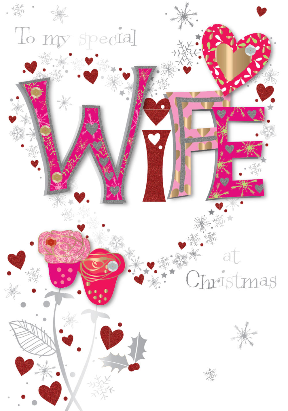 Special Wfe Embellished Christmas Greeting Card