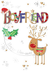 Boyfriend Embellished Christmas Greeting Card
