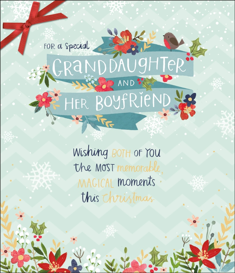 Christmas Greeting Cards Images.Granddaughter Boyfriend Christmas Greeting Card