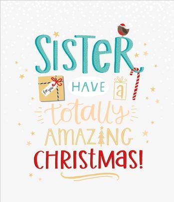 Sister Embellished Christmas Greeting Card