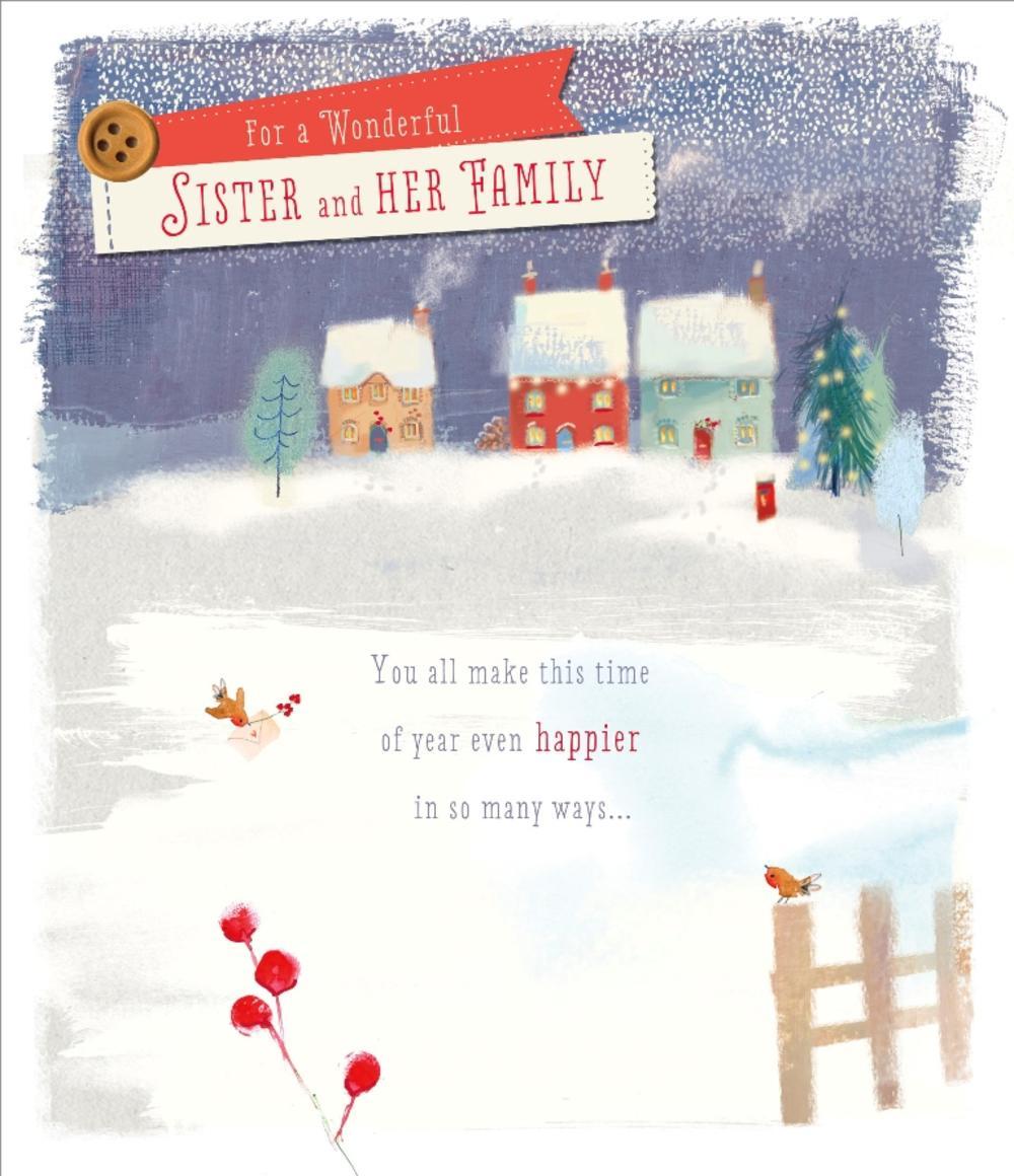 Sister And Family Christmas Greeting Card
