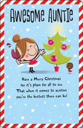 Awesome Auntie Christmas Greeting Card