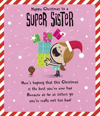Super Sister Happy Christmas Greeting Card