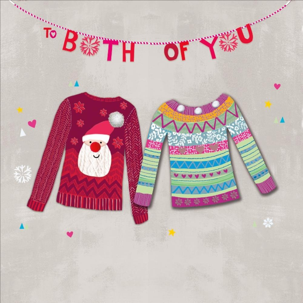 "To Both Of You Embellished 8"" Square Christmas Card"