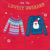 "Lovely Husband Embellished 8"" Square Christmas Card"