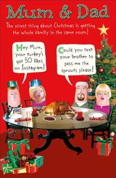 Mum & Dad Funny Christmas Greeting Card