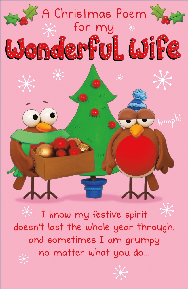 Christmas Poem.Wonderful Wife Funny Christmas Poem Greeting Card