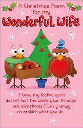 Wonderful Wife Funny Christmas Poem Greeting Card