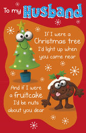 To My Husband Funny Verse Christmas Greeting Card