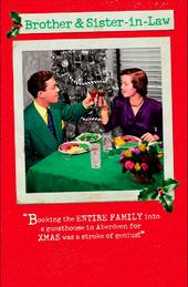 Brother & Sister-In-Law Funny Retro Christmas Greeting Card
