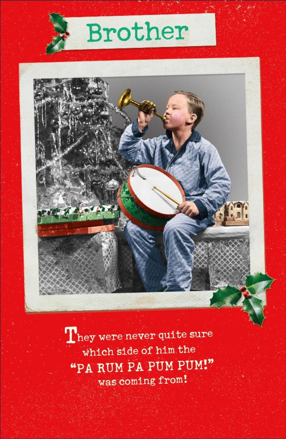 Brother Funny Retro Christmas Greeting Card
