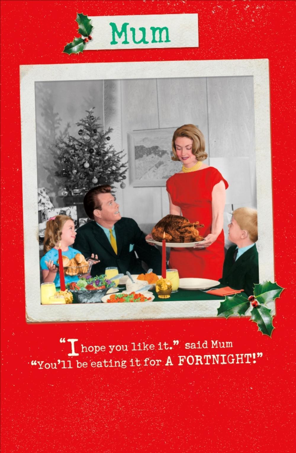 Mum Funny Retro Christmas Greeting Card