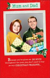 Mum & Dad Funny Retro Christmas Greeting Card